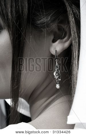 Bride With Ear-ring In Black And White