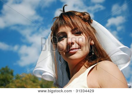 Young Bride And Blue Sky