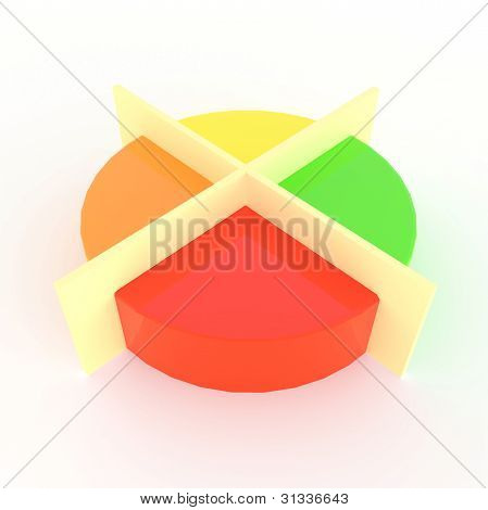 Pie Chart Divided Into Four Parts Crossed