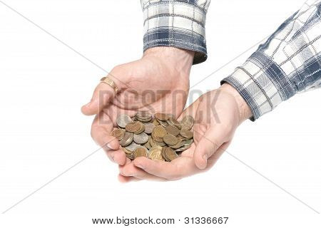 Men's hands hold the coins on a white background