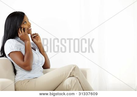 Cute Young Woman On Mobile Phone