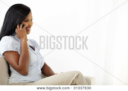Attractive Young Woman Talking At Mobile
