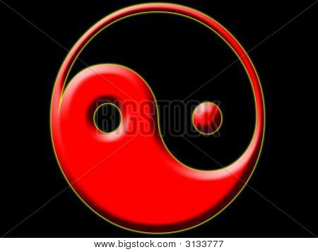 Red Black Gold Yin Yang
