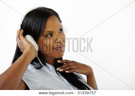 Happy Relaxed Young Lady Listening To Music