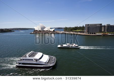 View At Ferries In Sidney Harbour With Opera House
