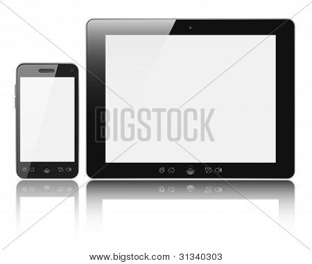 Tablet Pc com o celular Smartphone