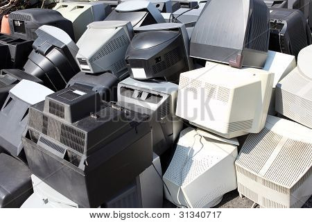 Old broken computers monitors