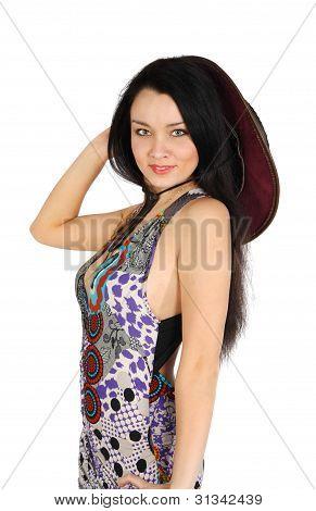 Beautiful Girl Wearing Dress Smiles Isolated On White Background
