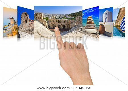 Hand Scrolling Greece Travel Images
