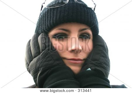 Girl In Gloves And Beanie