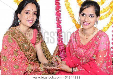 Mehendi ceremony / Karwa Chauth Celebration In India.