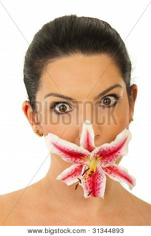 Amazed Woman With Flower Mouth
