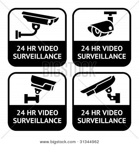 Rótulos de CCTV, símbolo conjunto pictograma de câmera de segurança