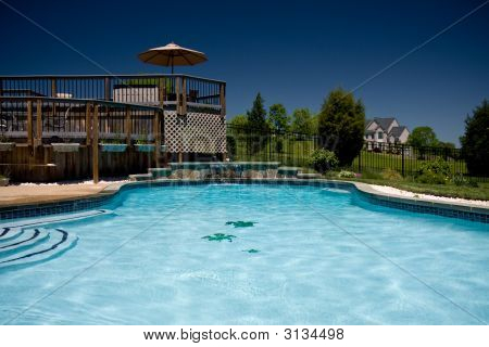 Water Level View Of Pool And Deck