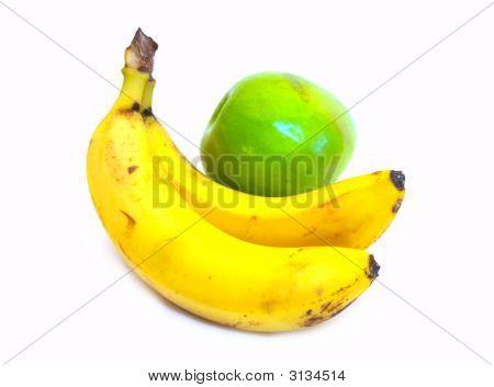 Two Bananas And Green Apple