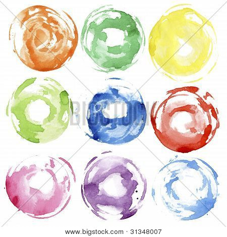 Watercolor Hand Painted Circles