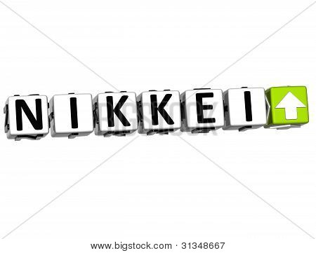 3D Nikkei Stock Market Block Text