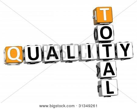 3D Total Quality Text Crossword Over White Background