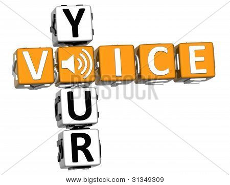 3D Your Voice Crossword On White Background