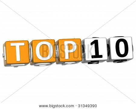 3D Ranking Top 10 Cube Text