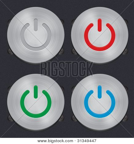 Set Of Vector Metal Power Button