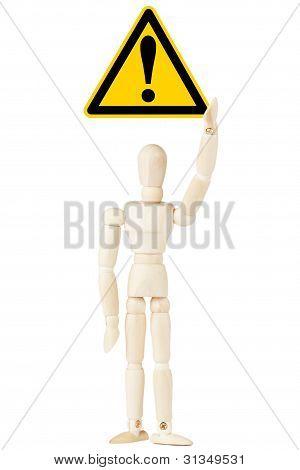 Danger And Hazard Sign In Dummy Hand