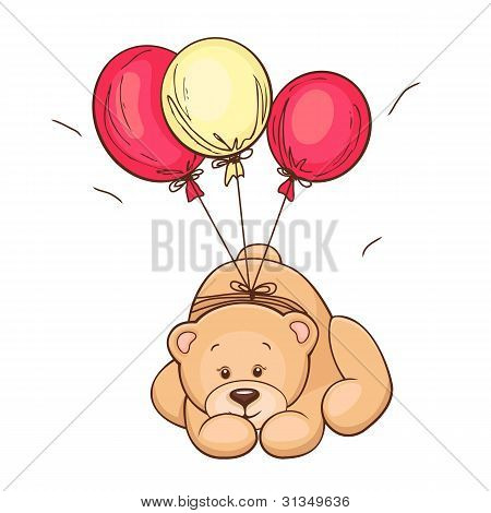 teddy bear and balloons