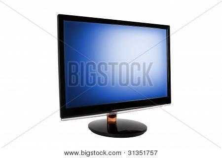 Monitor de la computadora amplia llevada.