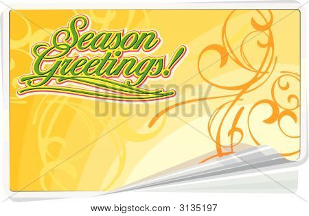 Season Greetings Summer Background With Floral Ornament.