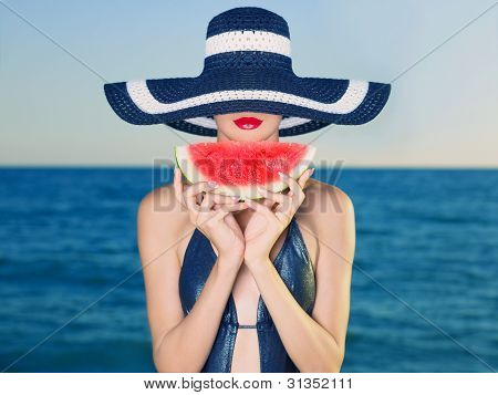 Young Lady At Sea With Watermelon