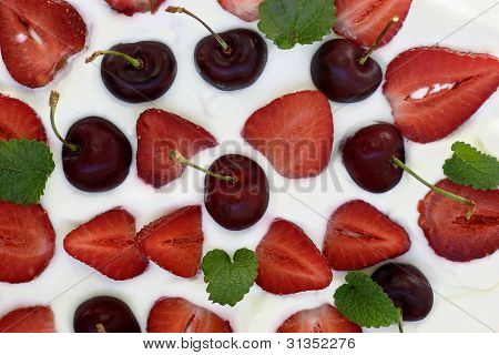 Fruitcake With Strawberries And Sweet Cherries, Fragment