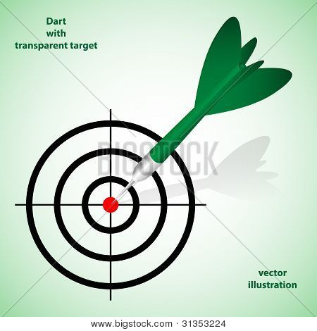 Green Dart With Taransparent Target.