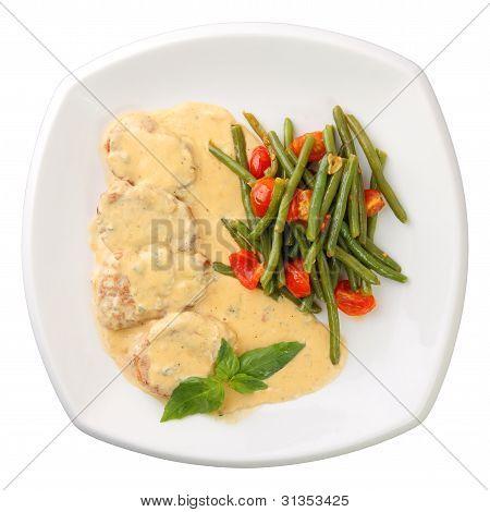 Kalbfleisch in einer cremigen sauce