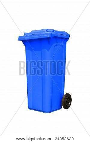 Large Blue Trash Can