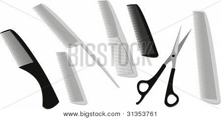 Hairdressing Scissors And A Lot Of Combs.eps