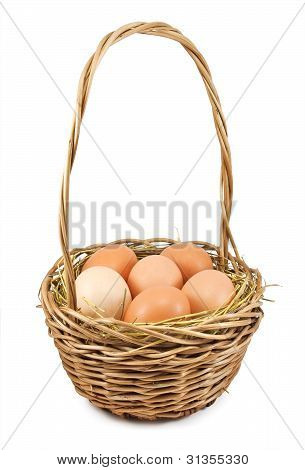 Brown Eggs At Hay In The Basket
