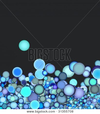 3D Render Abstract Blue Purple Bubble On Gray Backdrop