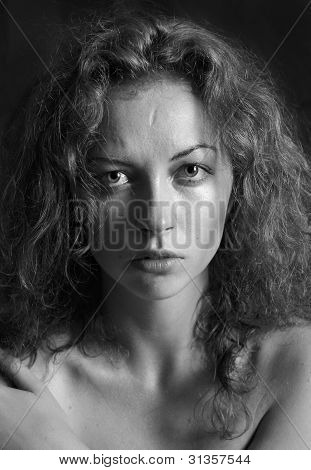 Woman silhouette in Black and White