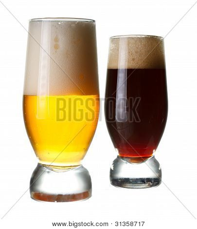 light and dark glasses of beer