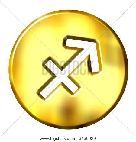 3D Golden Sagittarius Zodiac Sign