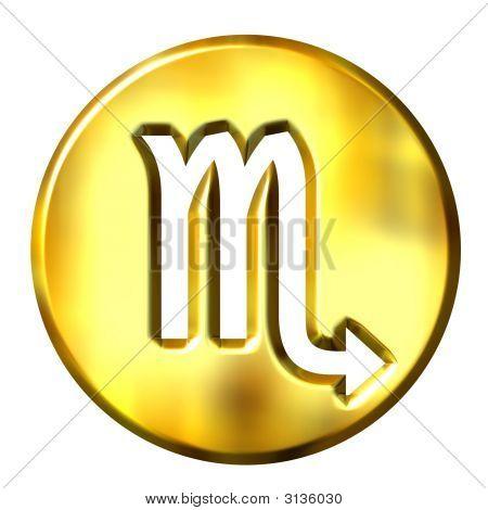 3D Golden Scorpio Zodiac Sign