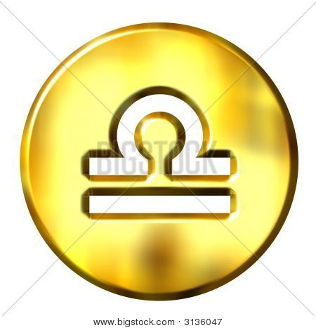 3D Golden Libra Zodiac Sign