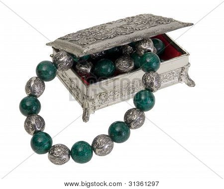 Vintage Silver Finish Jewelry Box With Green And Silver Necklace
