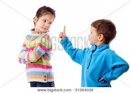 Two quarreling children