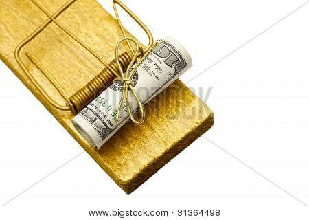 Golden Mousetrap With Rolled Dollar Bait