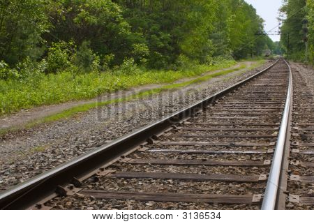 Railroad, Train Tracks In Forest, Leading To The Horizon