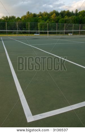 Empty Tennis Court, Net And Lines, Wideangle From Corner