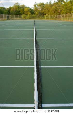 Empty Tennis Courts, Net And Lines, Wideangle From Center