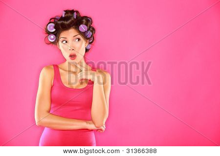 Funny Beauty Woman With Hair Rollers