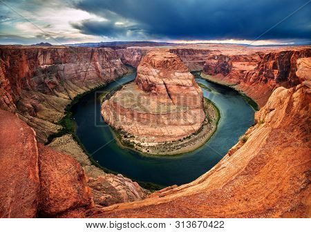 poster of Horseshoe Bend, A Vibrantly Colorful Canyon Cut By The Colorado River In Northern Arizona By Page.